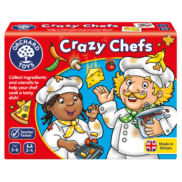Red box with white writing which says 'crazy chefs'