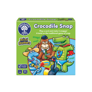 A green packaging box with 'crocodile snap' written on it